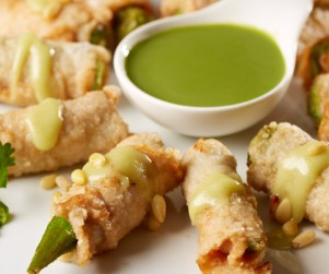 Deep-Fried Alberta Pork Tenderloin and Okra Rolls with Wasabi Honey Sauce by Chef Timmy Tsui