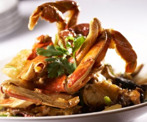 Sautéed B.C. Dungeness Crabs with Mixed Mushrooms and Chinese Celery by Chef Wing Ho