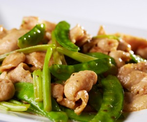 Stir Fried Alberta Pork Toro with Chinese Celery and Snow Peas by Chef Ming Yeung