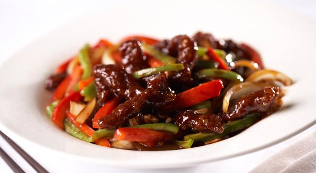 Stir-fried Alberta Rib Eye Stripes in Spicy and Black Vinegar Sauce by Chef Timmy Tsui