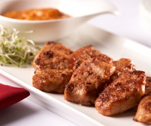 Pan-fried Alberta Pork Fillets with Shrimp Paste, Fermented Red Beancurd and Tomato Paste by Chef Tony Luk