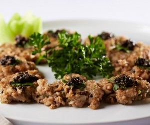 Pan-fried Alberta Pork Patties with Black Truffle by Chef Andy Liu